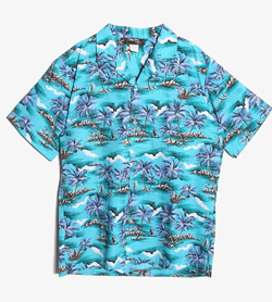 JPN - 레이온 하와이안 셔츠  Made In Hawaii  Man M / Color - Sky Blue