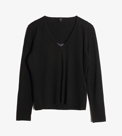 IOOPS -  메리노 울 브이넥 니트  Made In Italy  Women M / Color - Black