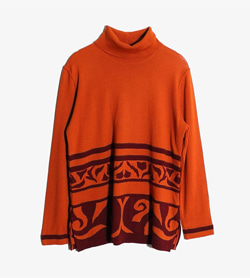 COCOON - 코쿤 울 폴리 터틀넥 니트  Made In Austria  Women L / Color - Orange