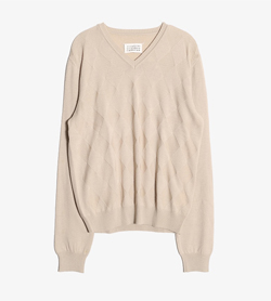 MAISON MARGIELA - 마르지엘라 라나울 브이넥 니트  Made In Italy  Man M / Color - Beige