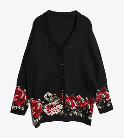 JPN -  아크릴 가디건  Made In France  Women M / Color - Black