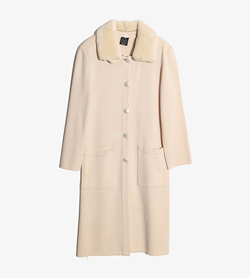 L&P CLUB -  울 아크릴 양털카라 코트  Made In Italy  Women M / Color - Ivory