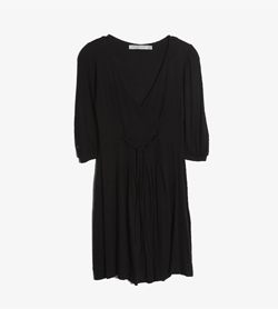 ZARA - 자라 레이온 엘라 브이넥 원피스   Made In Portugal  Women L / Color - Black