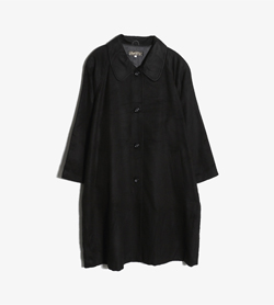 JPN -  실크 100% 맥 코트   Women L / Color - Black
