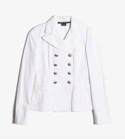 RALPH LAUREN - 랄프로렌 코튼 더블 자켓   Made In Italy  Women M / Color - White