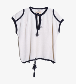 COURREGES - 쿠레쥬 코튼 라운드 니트   Made In France  Women L / Color - Ivory