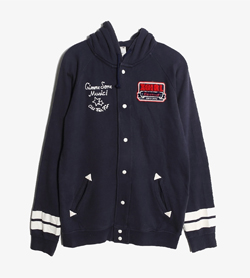 X GIRL - 엑스걸 코튼 자수 로고 후드   Made In Usa  Women M / Color - Navy