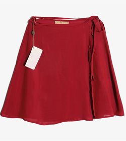 ENTRANCE - 엔트런스 레이온 아세테이트 끈 스커트 (새 제품)  Made In Italy  Women 28 / Color - Red